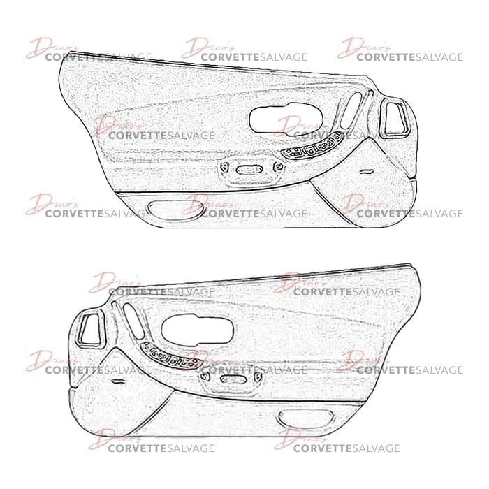 C5 used door panel 1997 2004 corvette salvage - C5 corvette interior door panels ...
