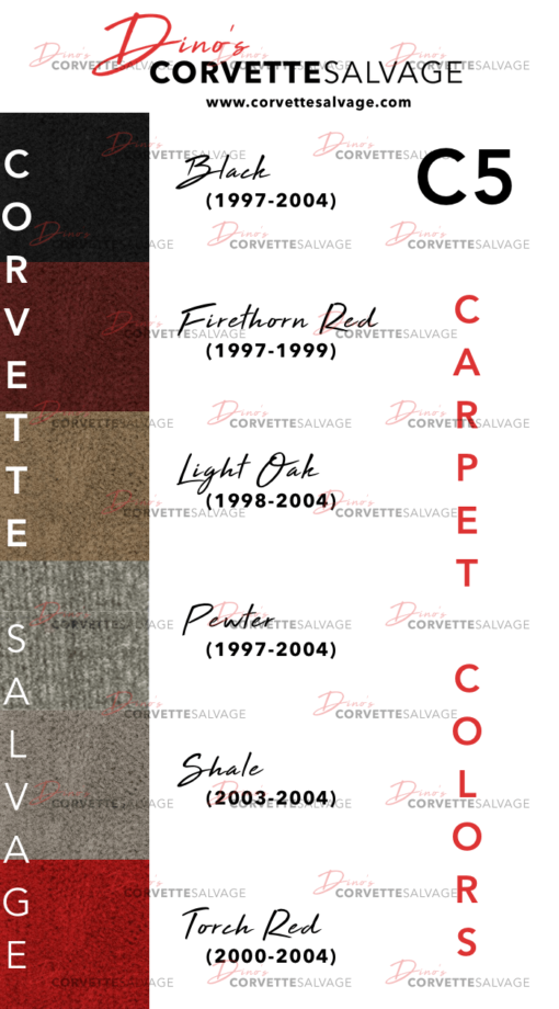 C5 Corvette Carpet Color Chart 1997 1998 1999 2000 2001 2002 2003 2004