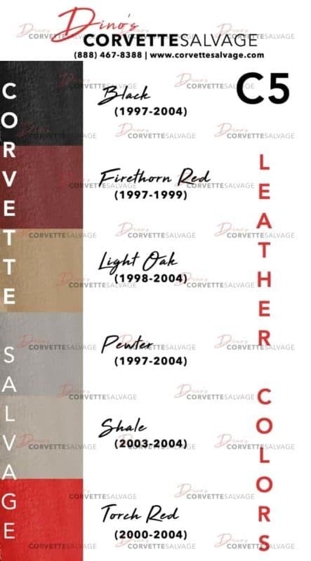 C5 Corvette Leather Color Chart