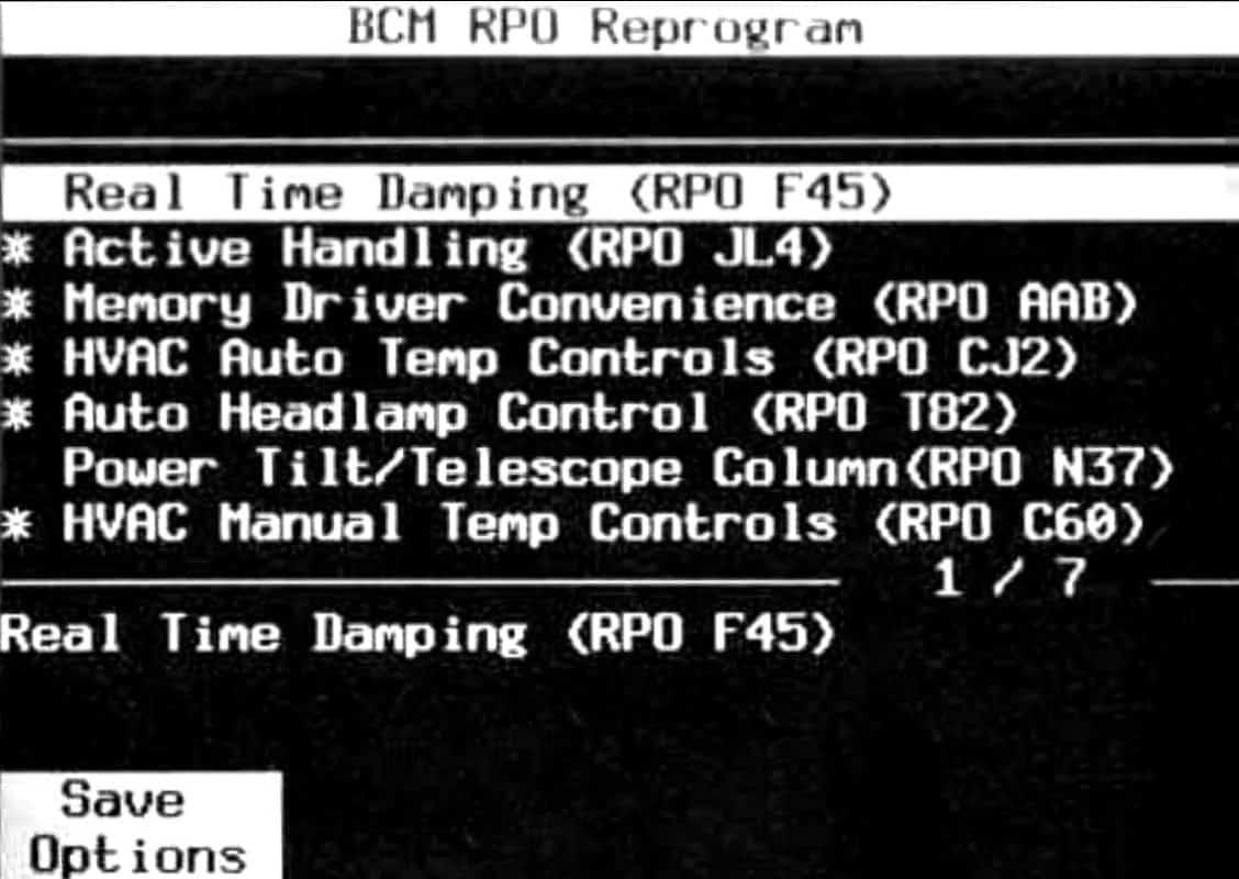 GM Tech II BCM RPO Reprogram Selection Menu