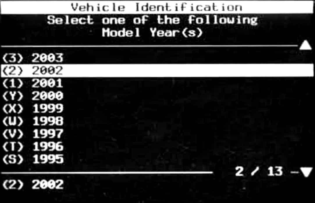 GM Tech II Vehicle Identification Menu - Year Selection