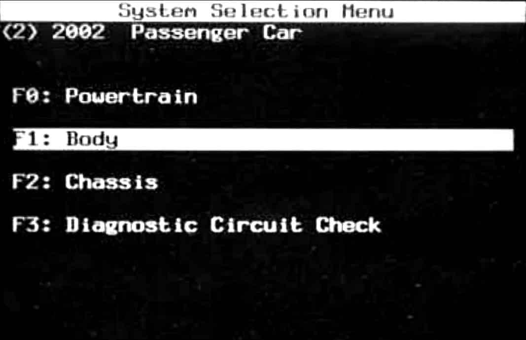 GM Tech II System Selection Menu