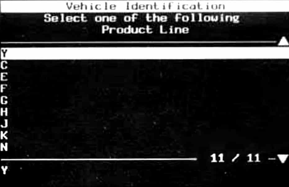 GM Tech II Vehicle Identification - Product Line Selection Menu