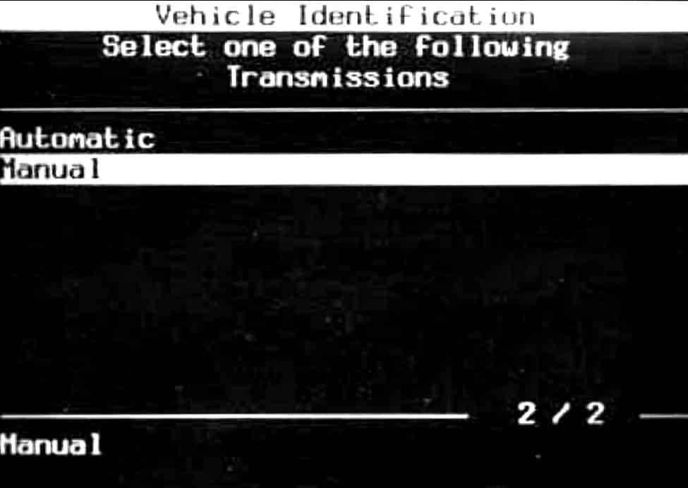 GM Tech II Vehicle Identification - Transmissions Selection Menu