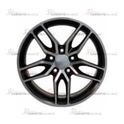 C4-C6 New Satin Black Machined 18x8.5 Wheel (C7 Stingray Style) 1988-2013 Front View