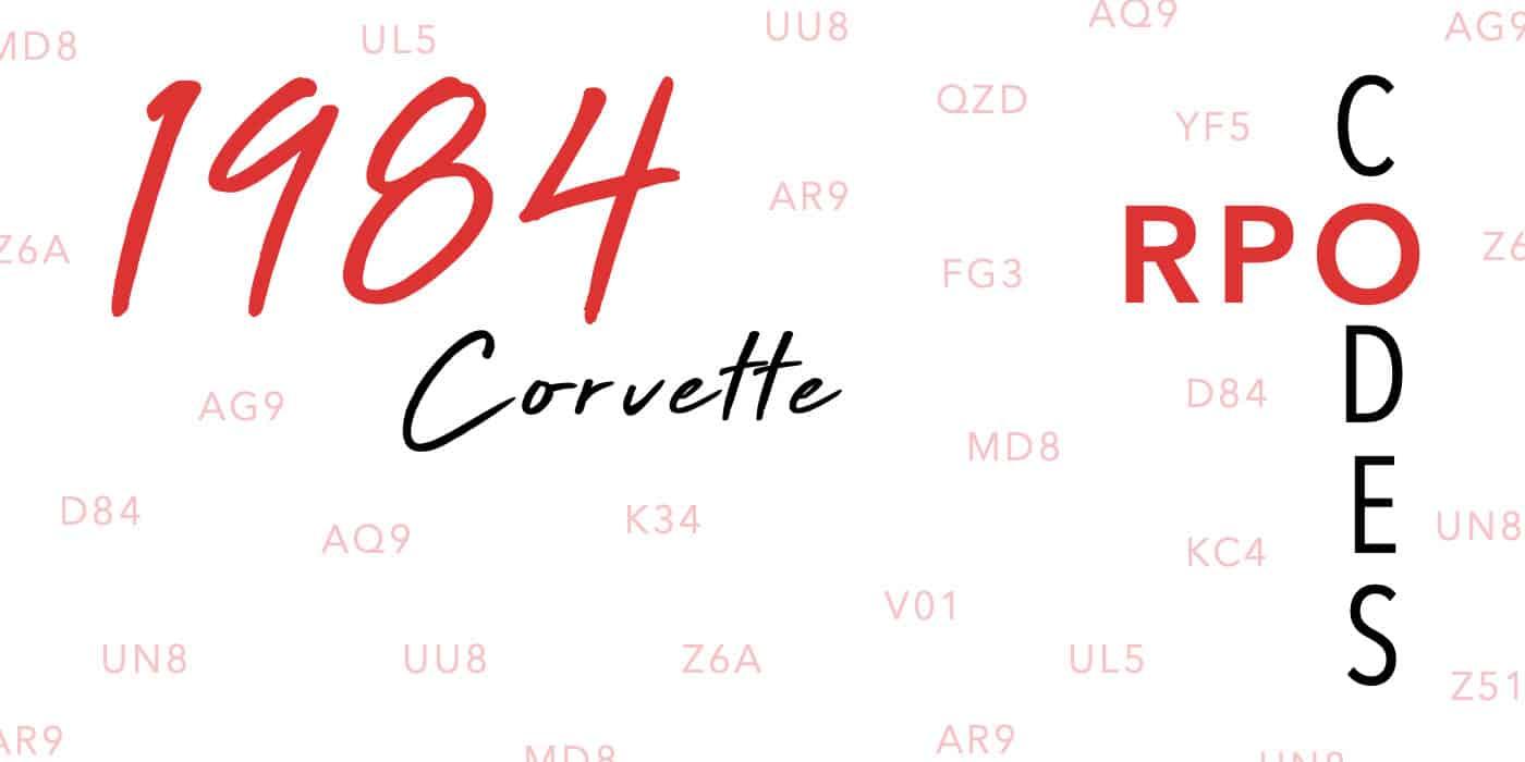 1984 Corvette RPO Codes Banner