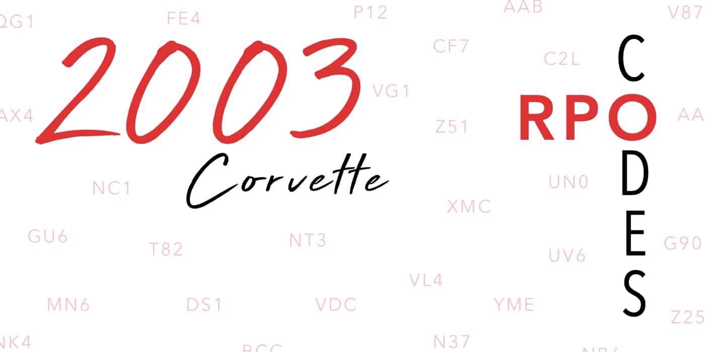 2003 Corvette RPO Codes Banner