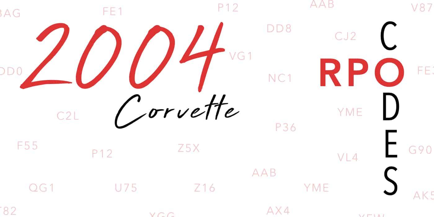 2004 Corvette RPO Codes Banner