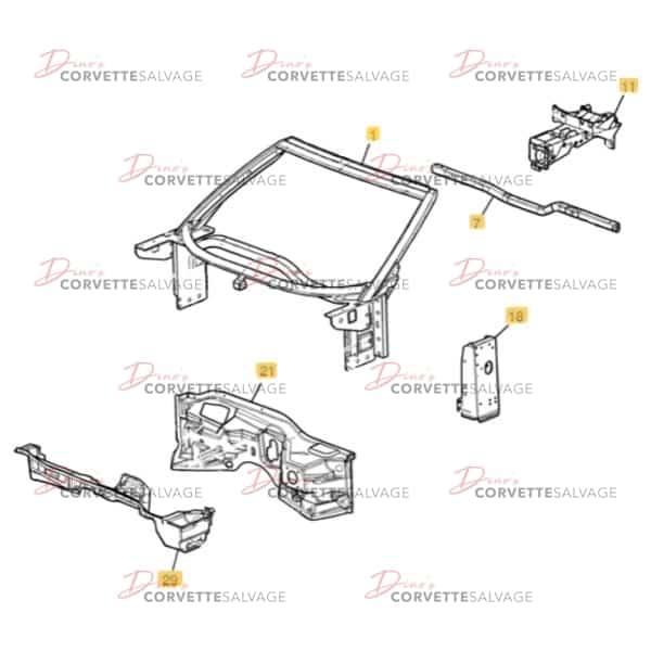 C6 Corvette Windshield Frame/Firewall Assembly 2005-2013 Illustration