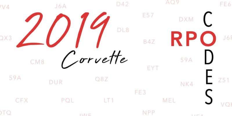 2019 Corvette RPO Codes Banner