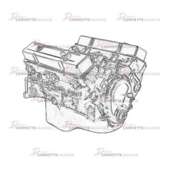 C3 Corvette L48 Engine Assembly 1975-1980 Illustration