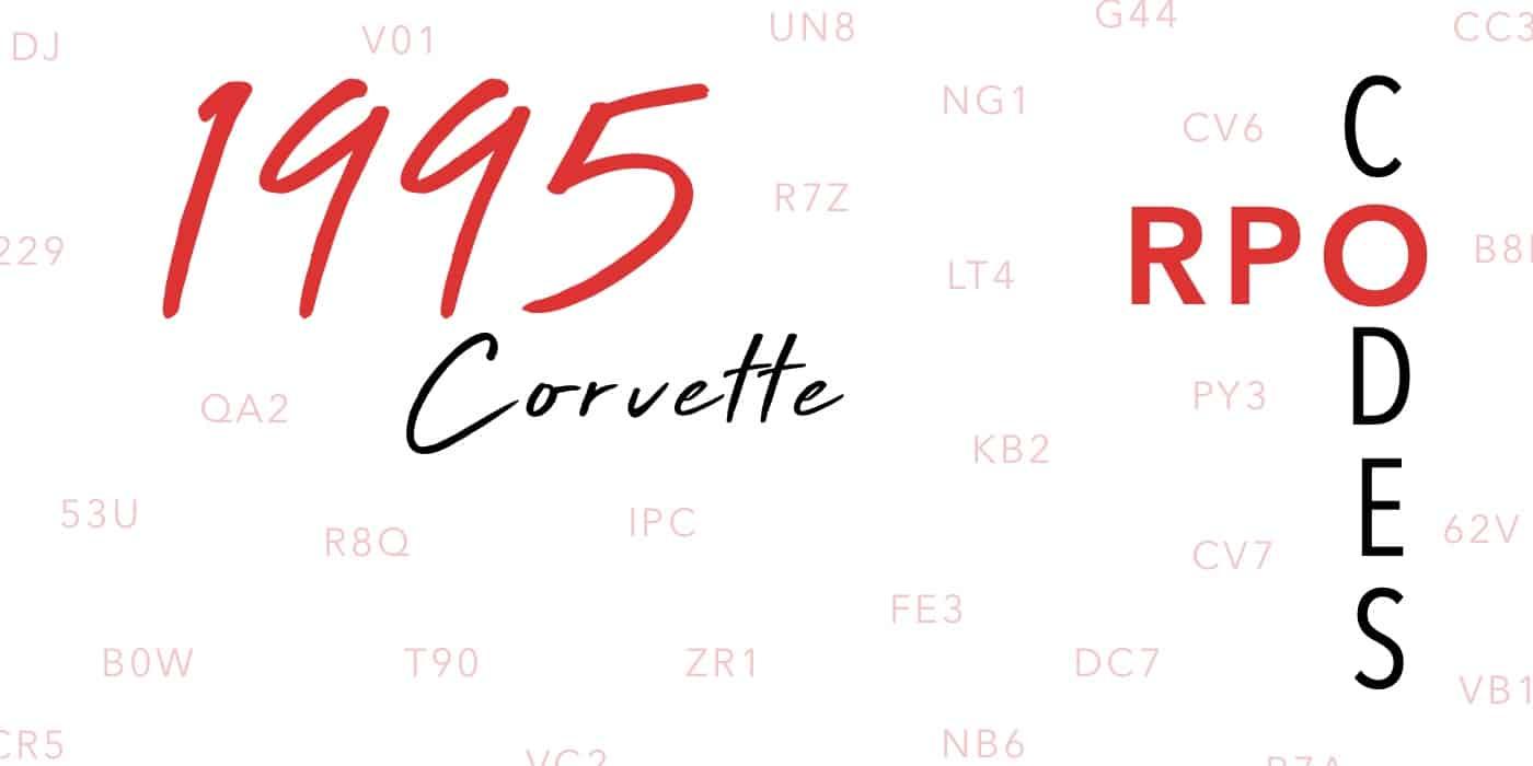 1995 Corvette RPO Codes Banner