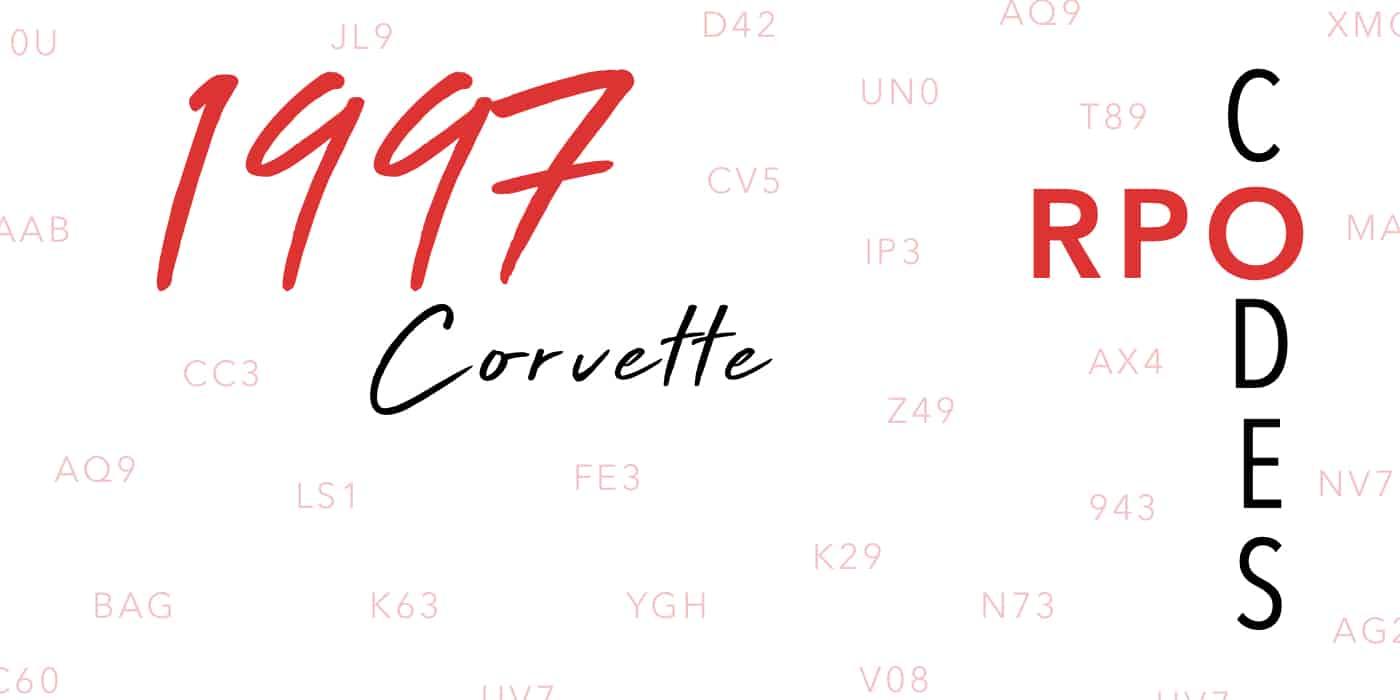 1997 Corvette RPO Codes Banner