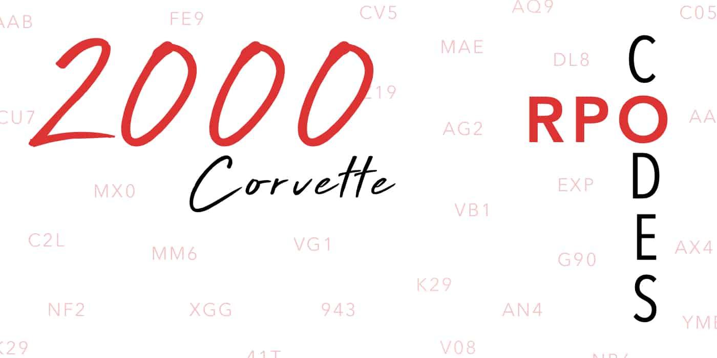 2000 Corvette RPO Codes Banner