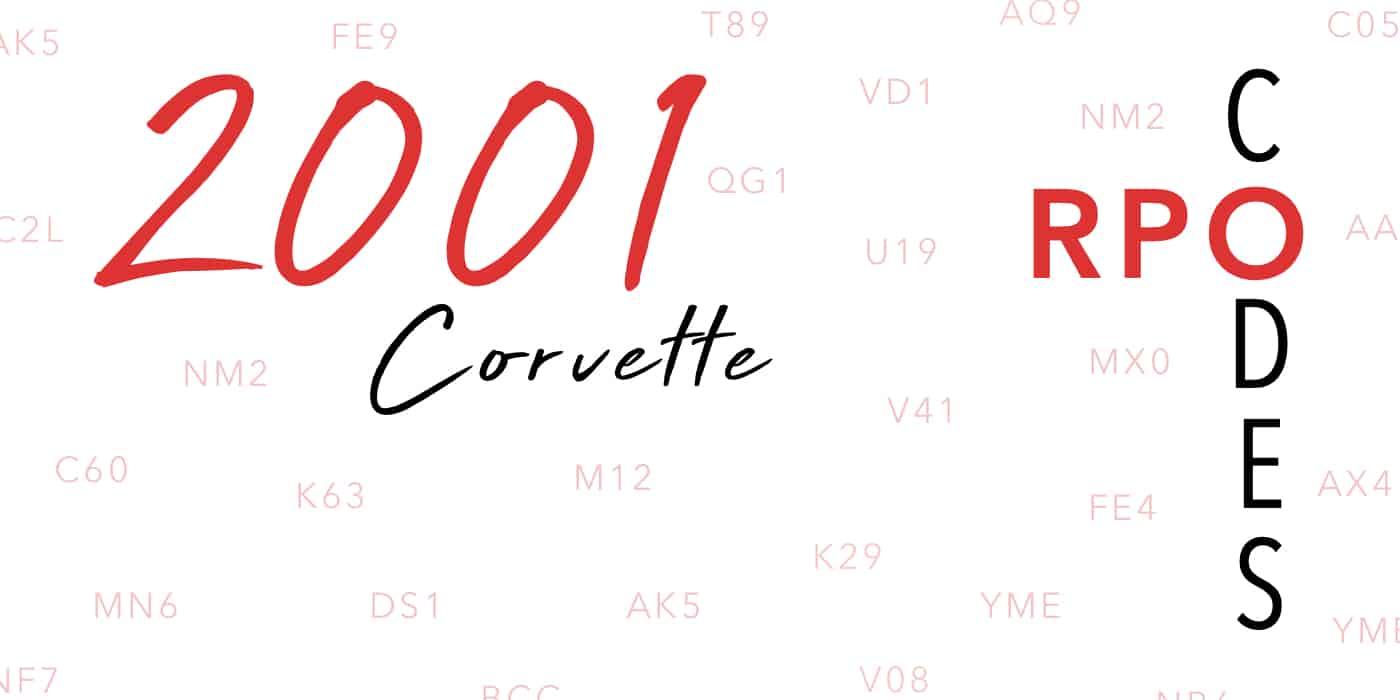 2001 Corvette RPO Codes Banner
