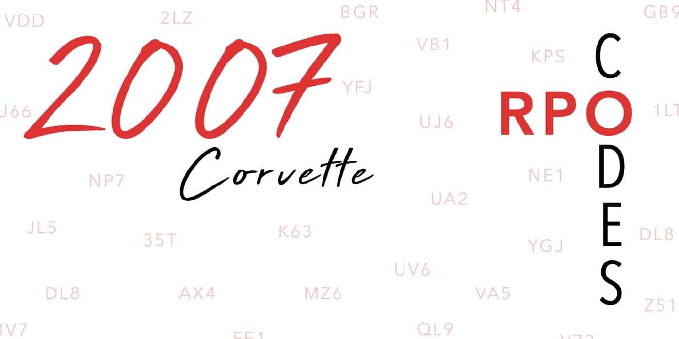 2007 Corvette RPO Codes Banner