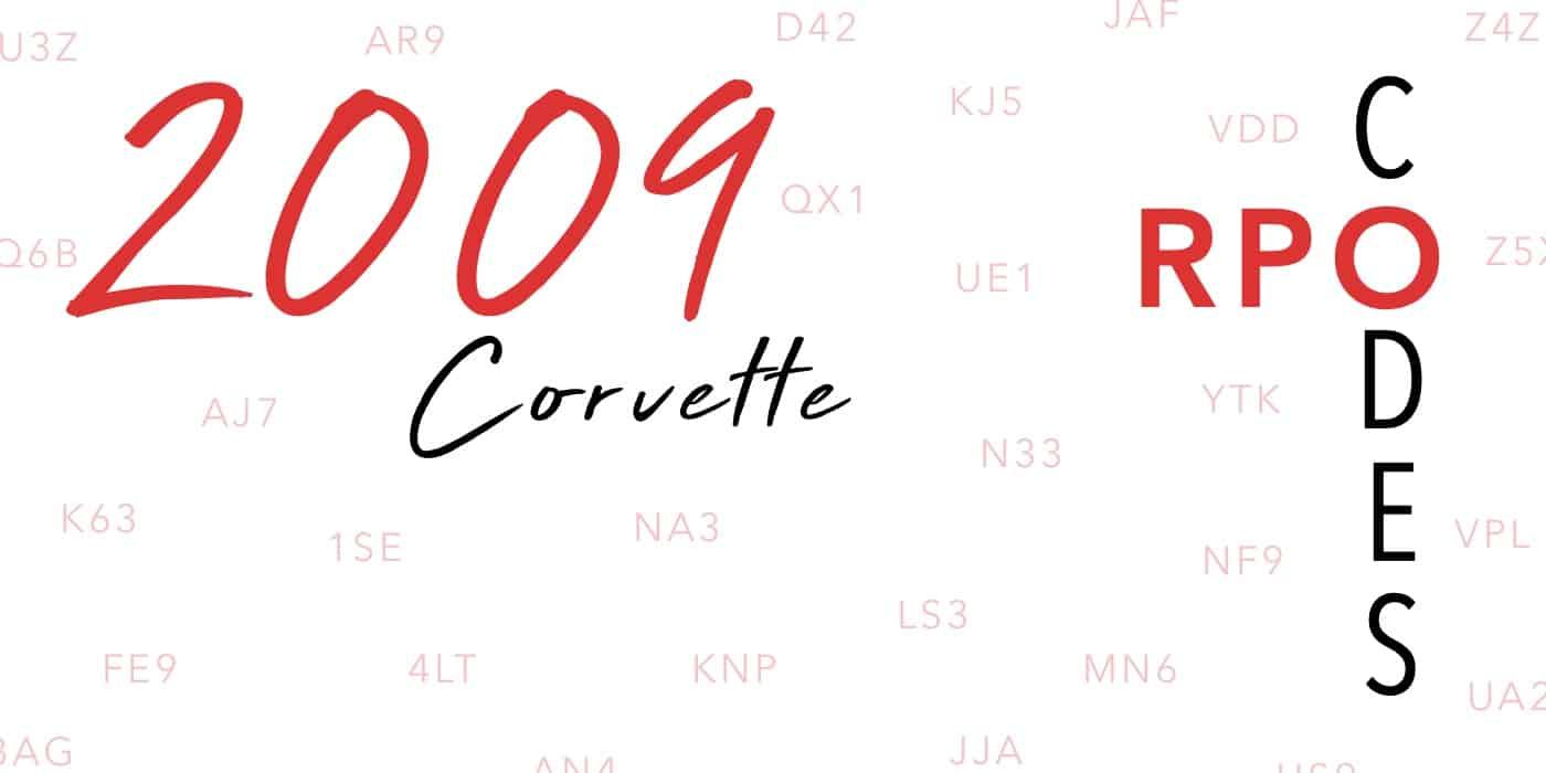 2009 Corvette RPO Codes Banner