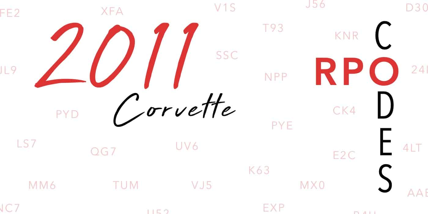 2011 Corvette RPO Codes Banner