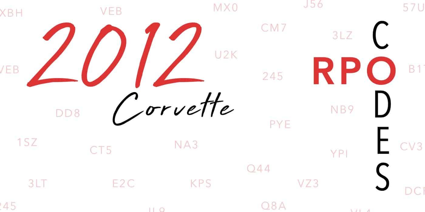 2012 Corvette RPO Codes Banner