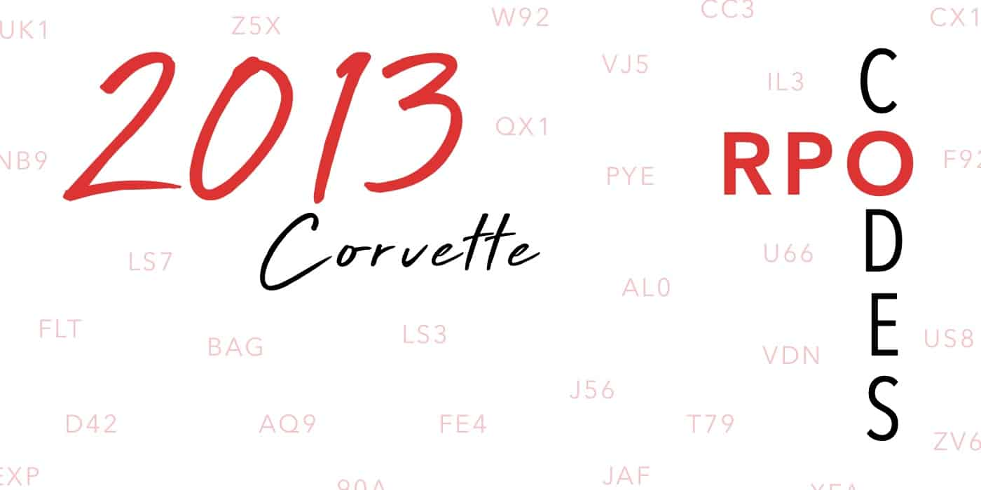 2013 Corvette RPO Codes Banner