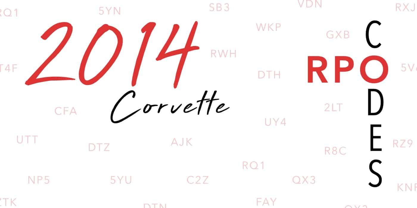 2014 Corvette RPO Codes Banner