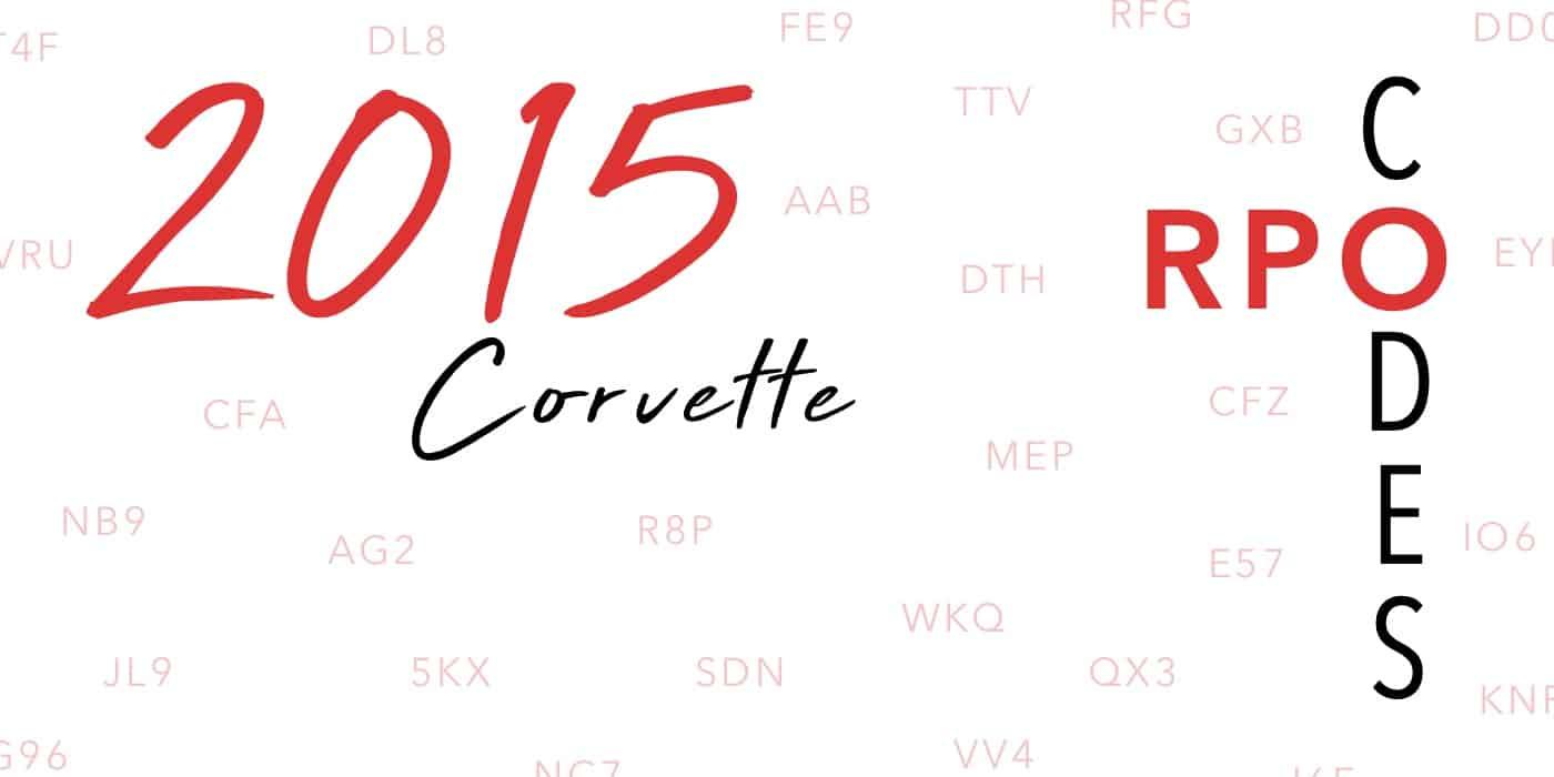 2015 Corvette RPO Codes Banner
