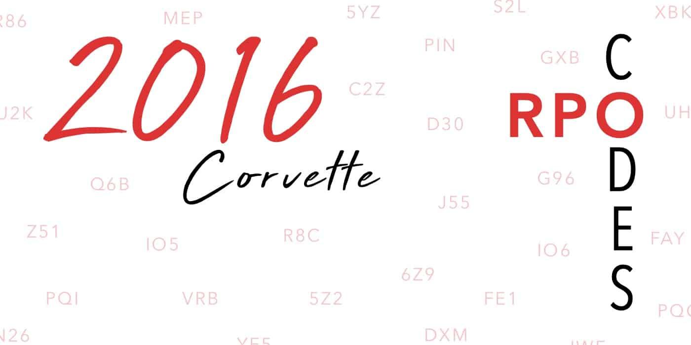 2016 Corvette RPO Codes Banner