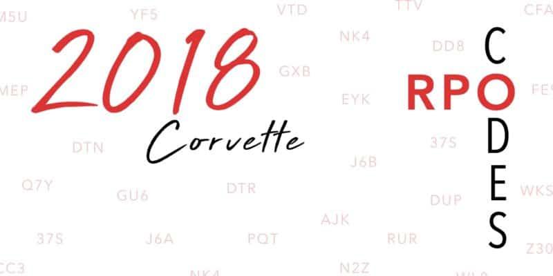 2018 Corvette RPO Codes Banner
