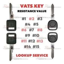 C4-C5 Corvette VATS Key Resistance Value Lookup Service 1986-2004